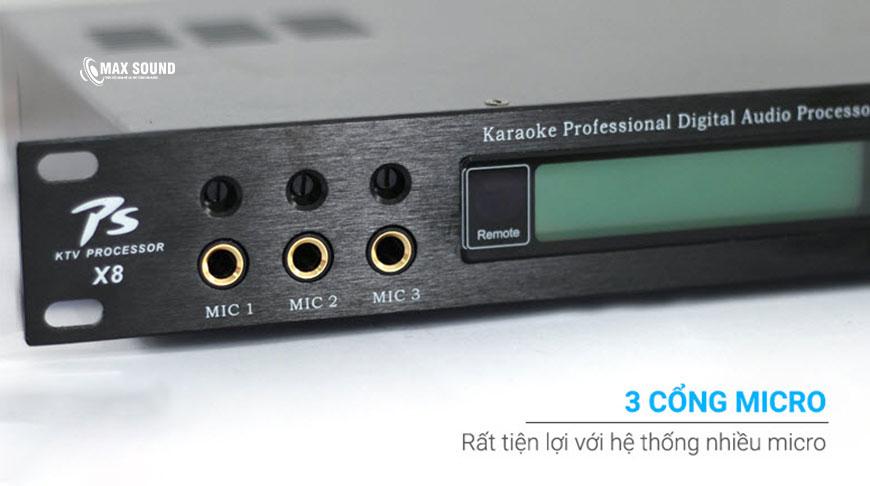 Vang số X8 tiện lợi với nhiều cổng micro