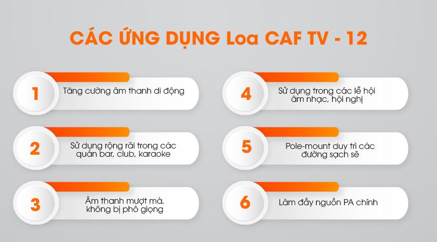 Các ứng dụng của loa CAF TV-12