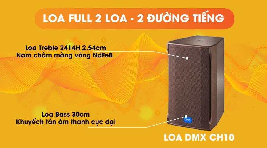 Loa DMX CH10 full 2 loa 2 đường tiếng