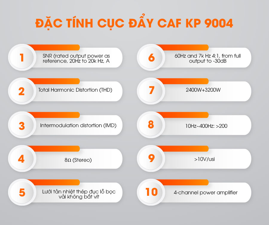Đặc tính của cục đẩy CAF KP-9004