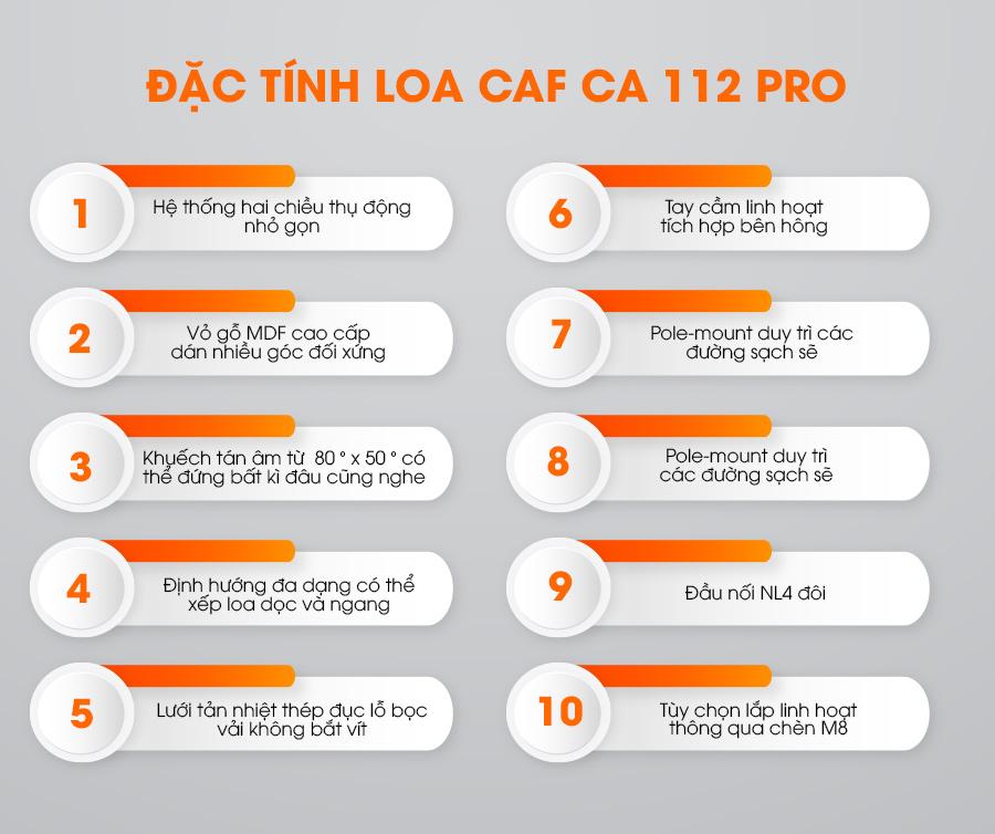 Đặc tính của loa CAF CA-112 Pro