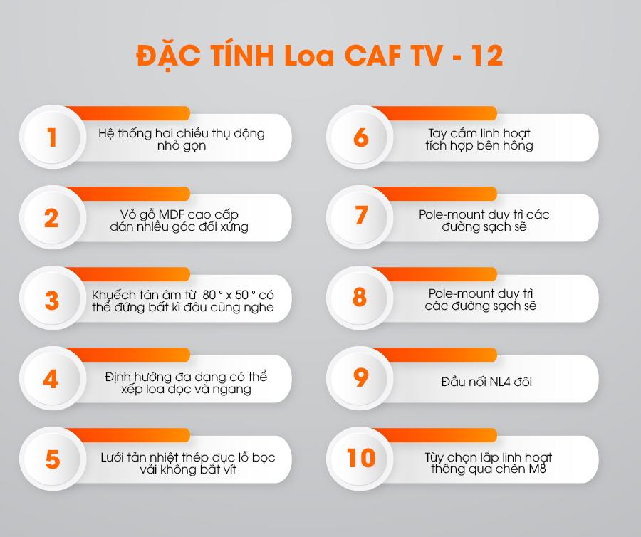 Đặc tính loa CAF TV-12