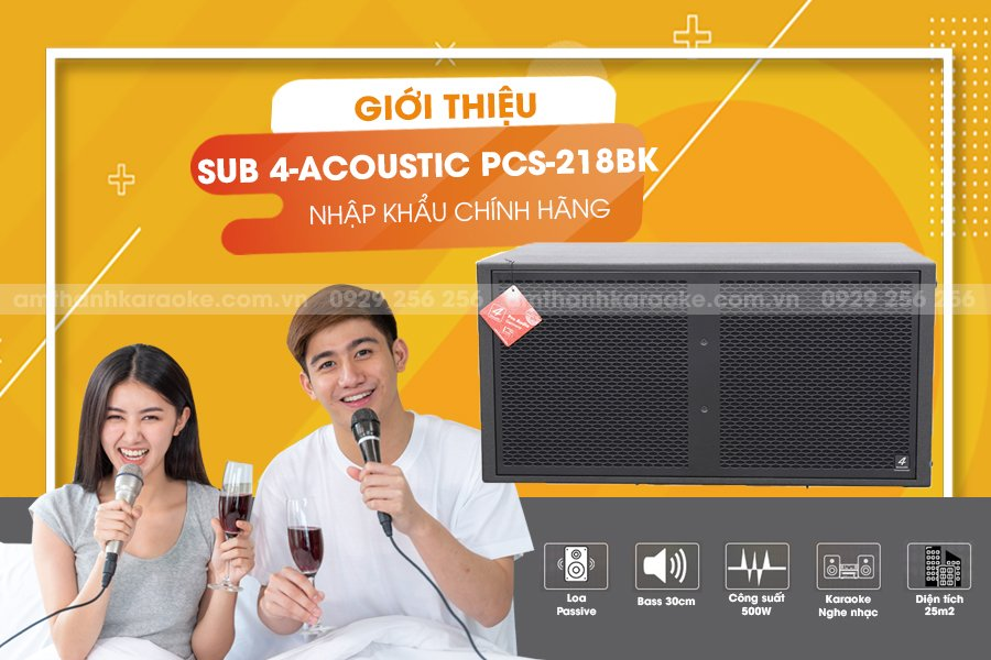 Loa sub kép 4 acoustic PCS218BK