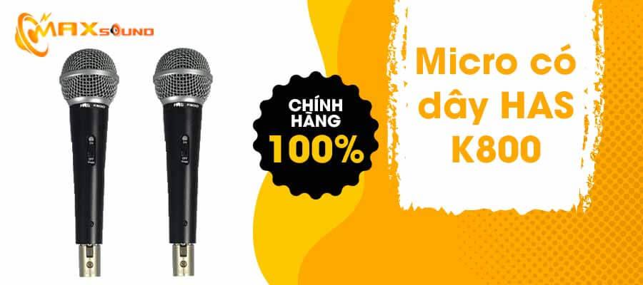 Micro có dây HAS K800 chính hãng